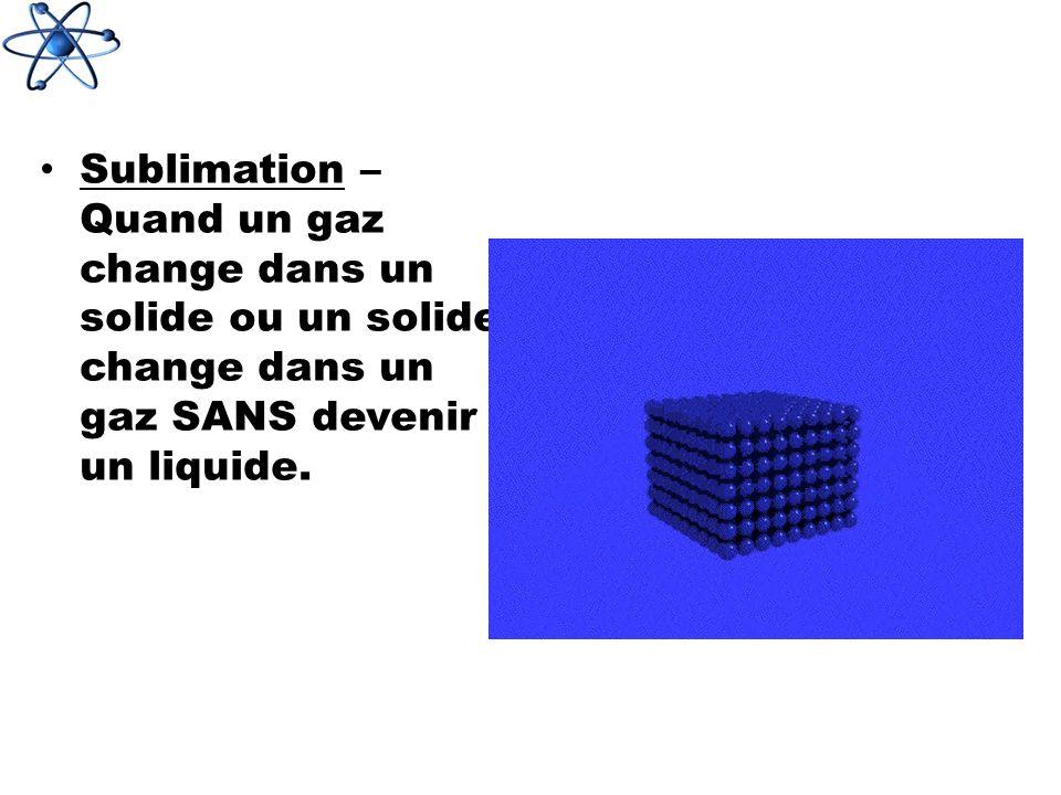 Sublimation – Quand un gaz change dans un solide ou un solide change dans un gaz SANS devenir un liquide.