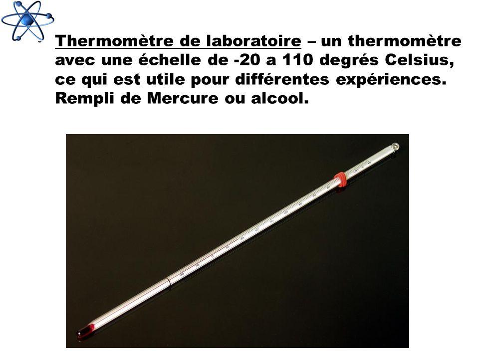 Thermomètre de laboratoire – un thermomètre avec une échelle de -20 a 110 degrés Celsius, ce qui est utile pour différentes expériences.