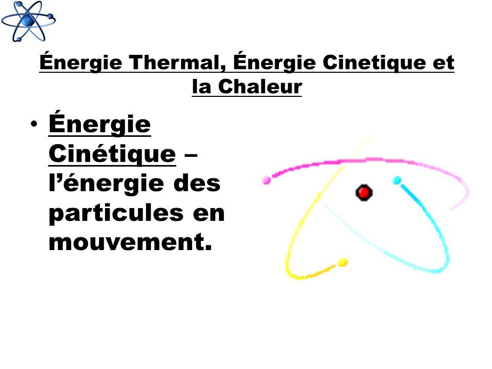 Énergie Thermal, Énergie Cinetique et la Chaleur