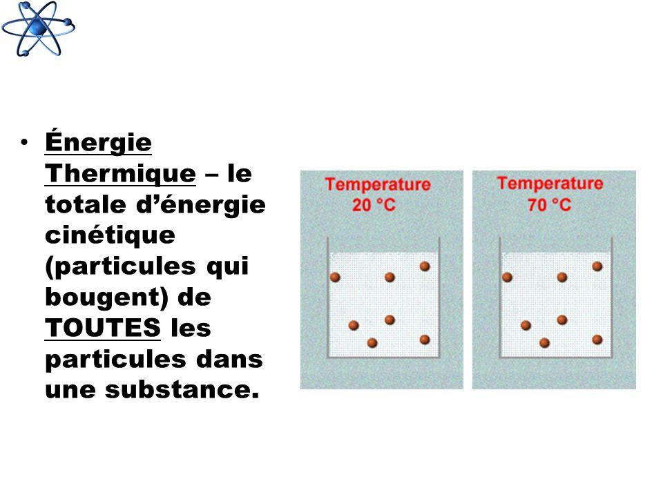 Énergie Thermique – le totale d'énergie cinétique (particules qui bougent) de TOUTES les particules dans une substance.