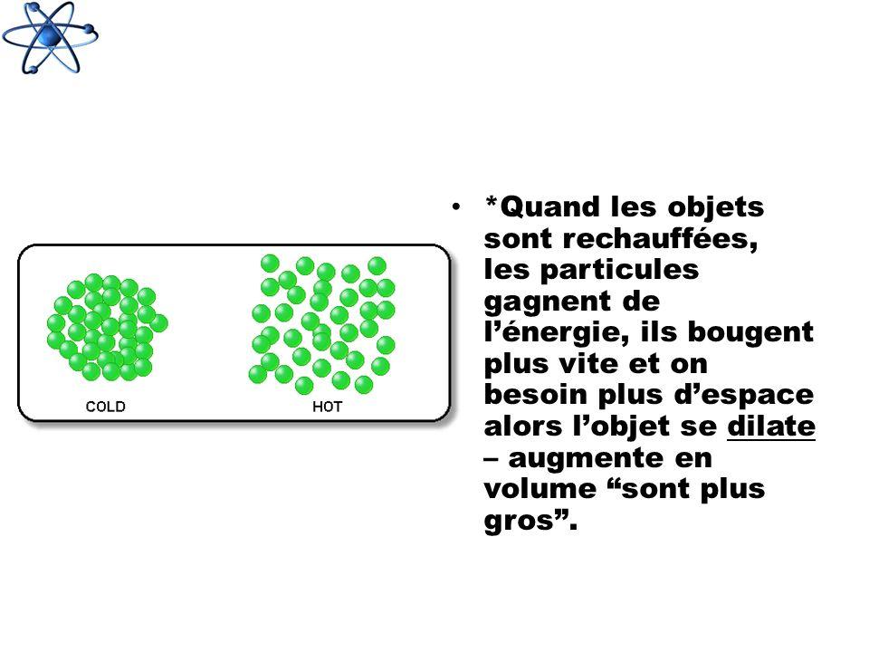 *Quand les objets sont rechauffées, les particules gagnent de l'énergie, ils bougent plus vite et on besoin plus d'espace alors l'objet se dilate – augmente en volume sont plus gros .