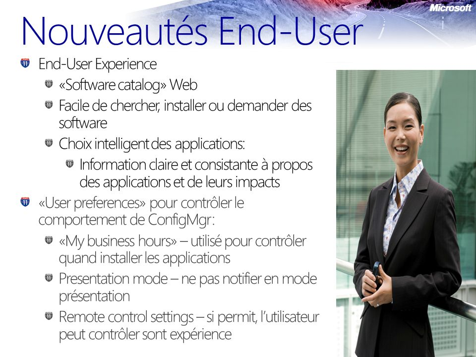Nouveautés End-User End-User Experience «Software catalog» Web