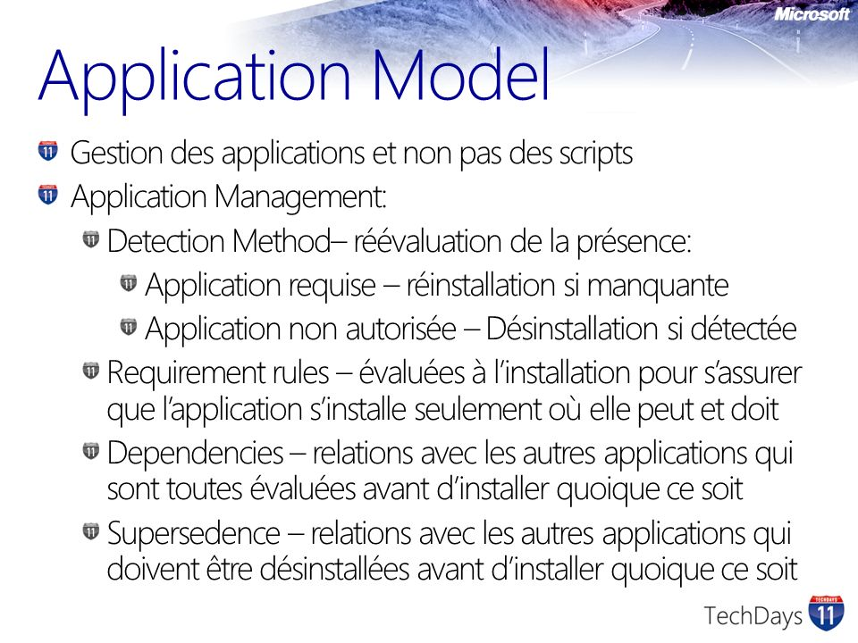 Application Model Gestion des applications et non pas des scripts