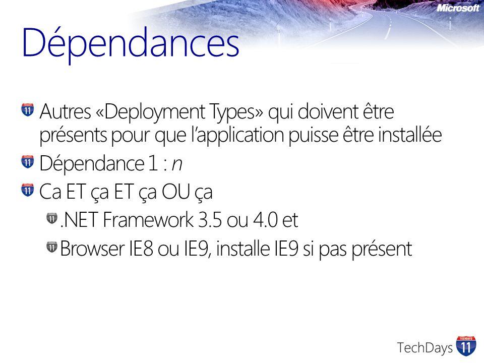 Dépendances Autres «Deployment Types» qui doivent être présents pour que l'application puisse être installée.