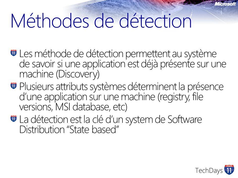 Méthodes de détection Les méthode de détection permettent au système de savoir si une application est déjà présente sur une machine (Discovery)