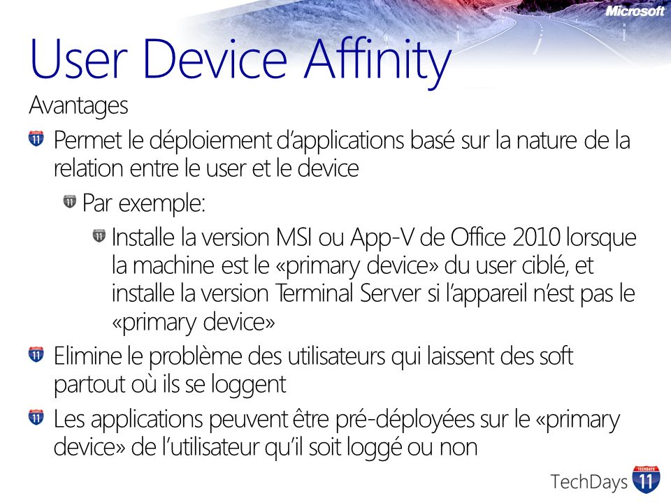 User Device Affinity Avantages