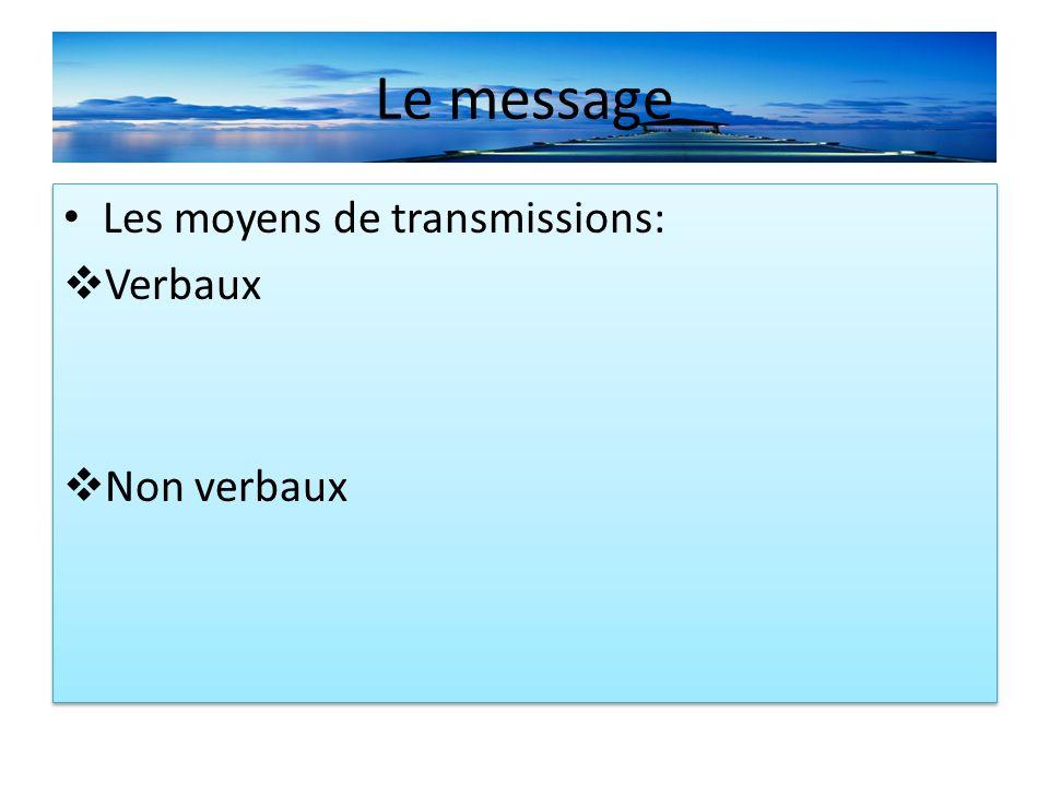 Le message Les moyens de transmissions: Verbaux Non verbaux