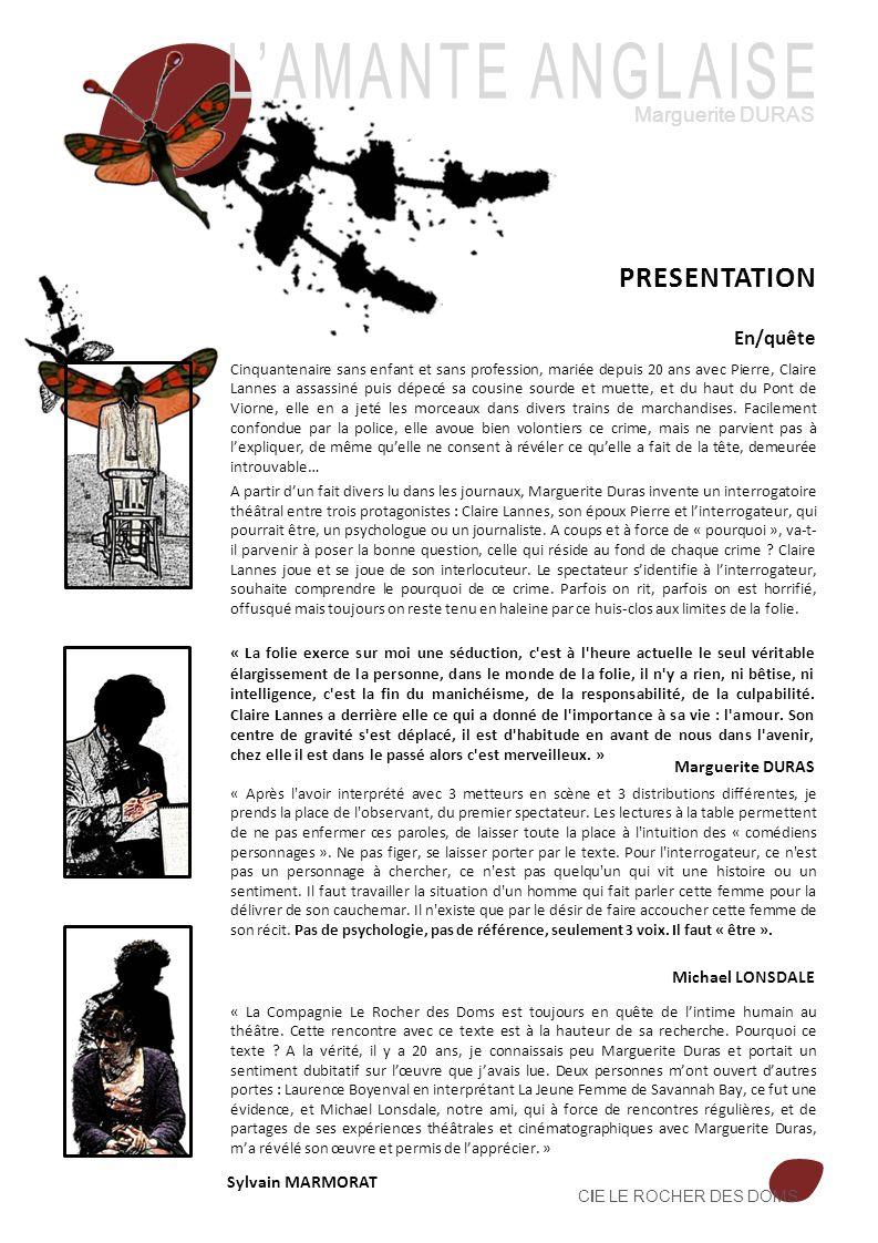 L'AMANTE ANGLAISE PRESENTATION Marguerite DURAS En/quête