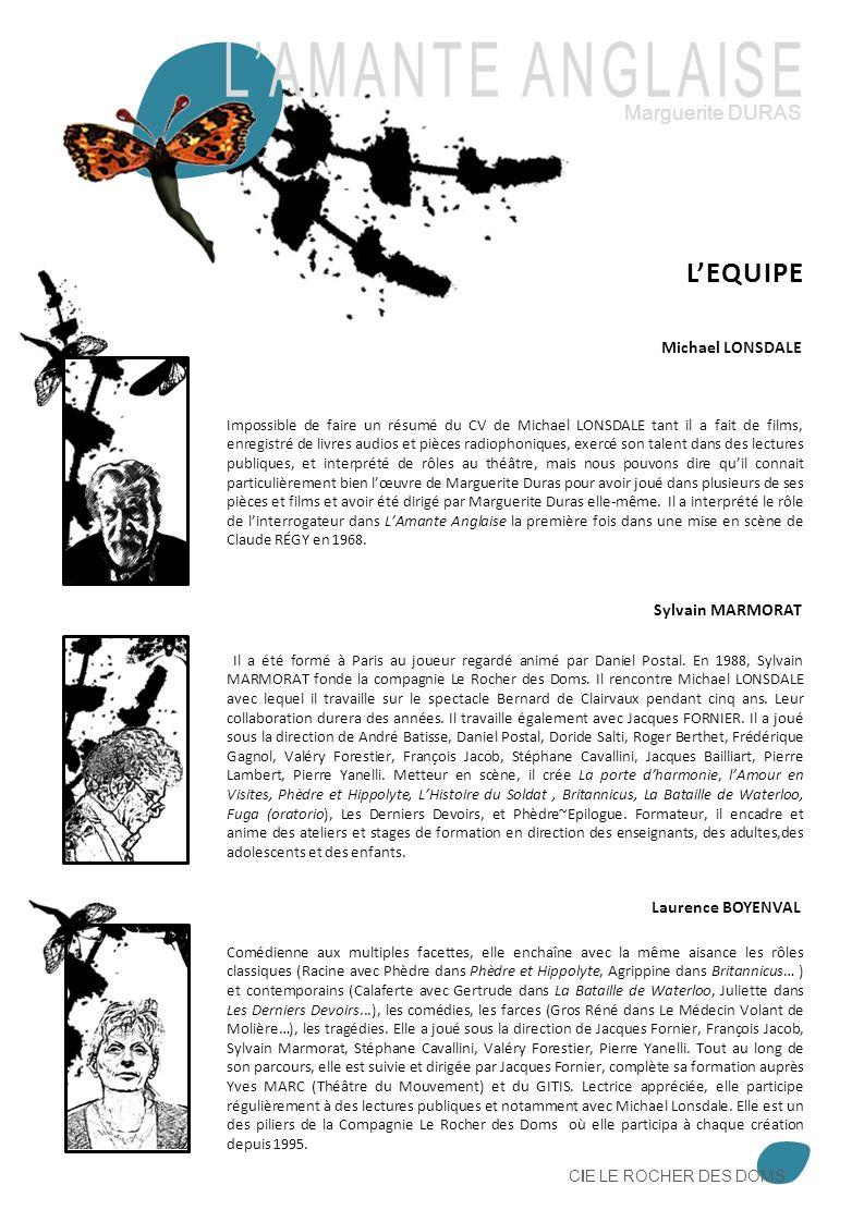 L'AMANTE ANGLAISE L'EQUIPE Marguerite DURAS Michael LONSDALE
