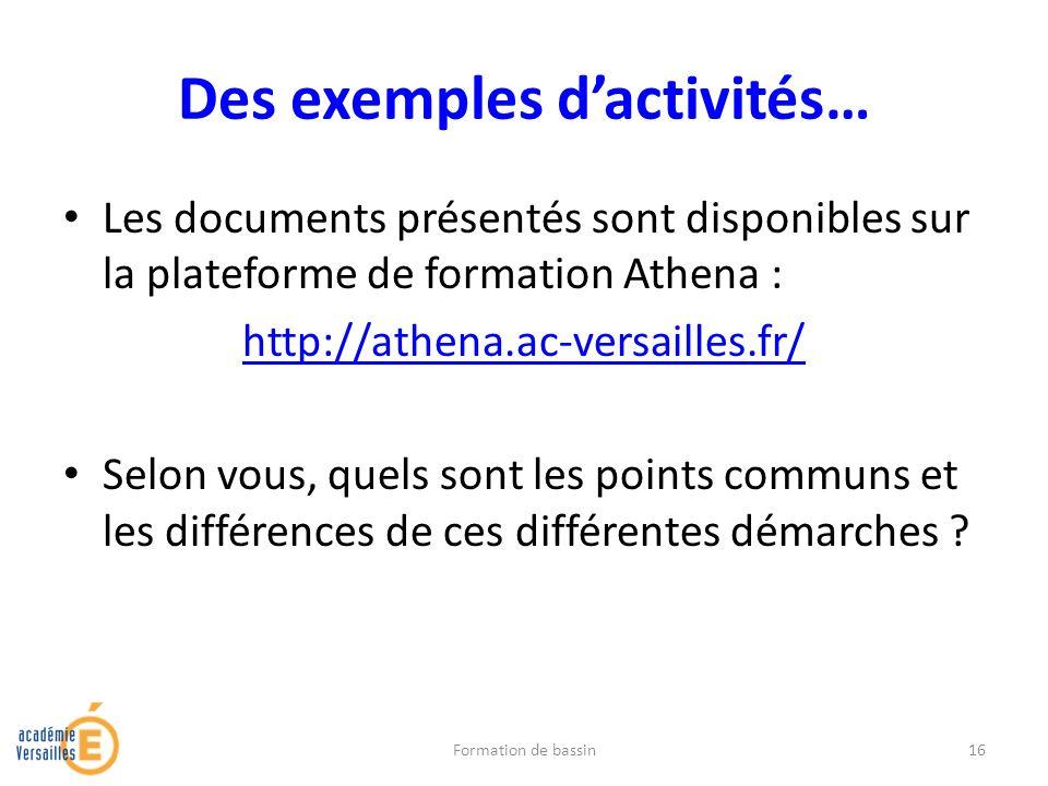 Des exemples d'activités…