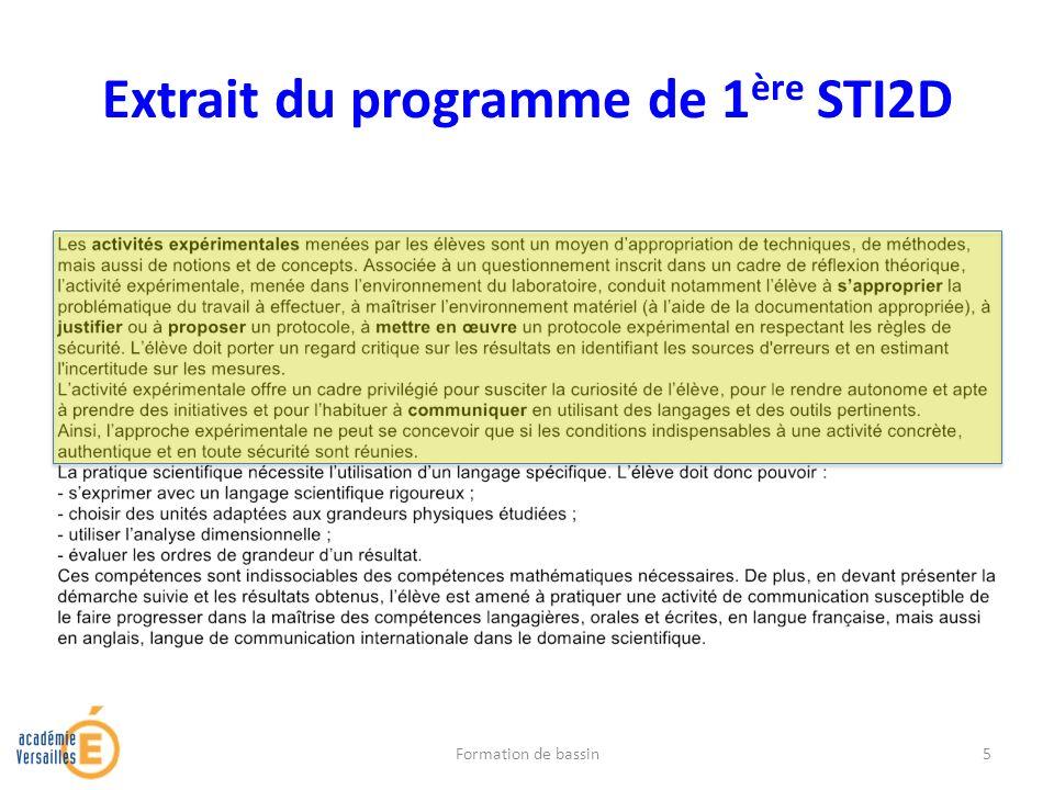 Extrait du programme de 1ère STI2D