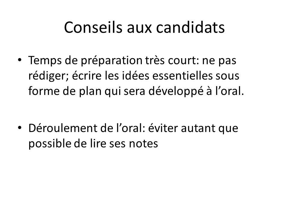 Conseils aux candidats