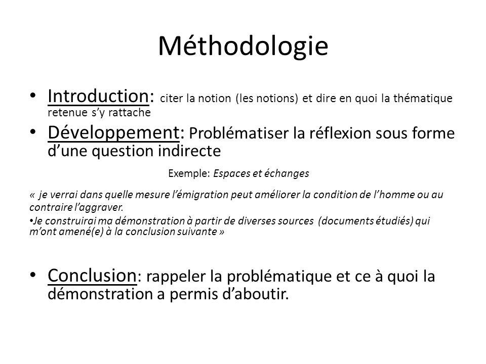 Méthodologie Introduction: citer la notion (les notions) et dire en quoi la thématique retenue s'y rattache.