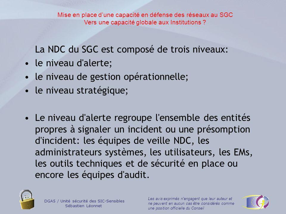 La NDC du SGC est composé de trois niveaux: le niveau d alerte;