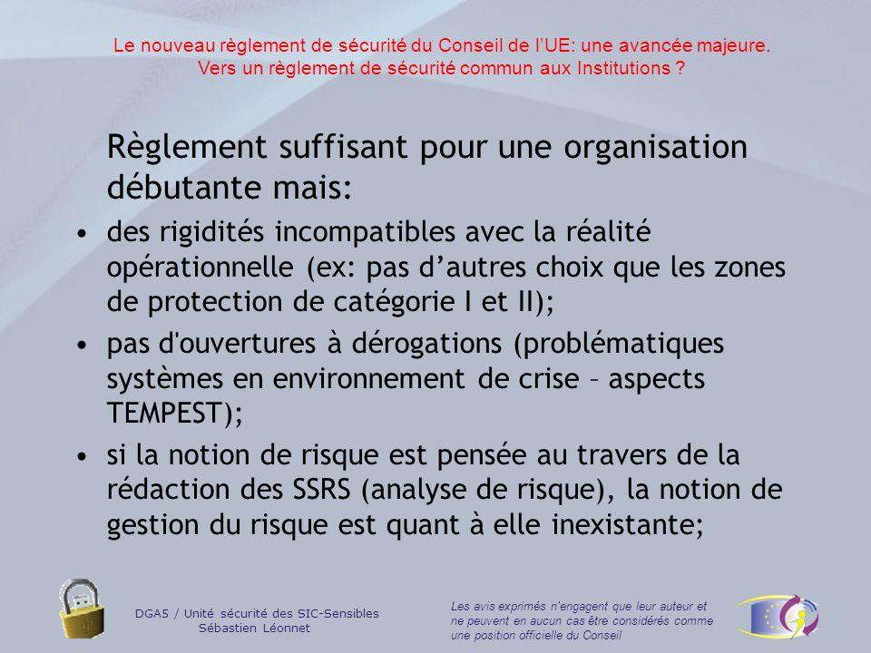 Vers un règlement de sécurité commun aux Institutions