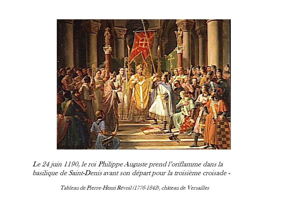 L'oriflamme avait un caractère religieux et sa levée était entourée de tout un cérémonial. Les reliques de Saint Denis étaient d'abord exposées publiquement, puis le roi venait s'agenouiller devant l'oriflamme avant de le confier à un chevalier parmi les plus braves. Celui-ci jurait solennellement de le porter pendant le combat et de ne jamais l'abandonner quoi qu'il arrive. Les autres chevaliers embrassaient l'oriflamme