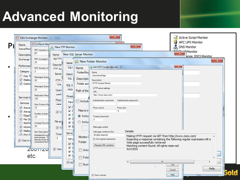 Advanced Monitoring Proactive Monitoring of network infrastructure and servers. Preconfigured Monitors.