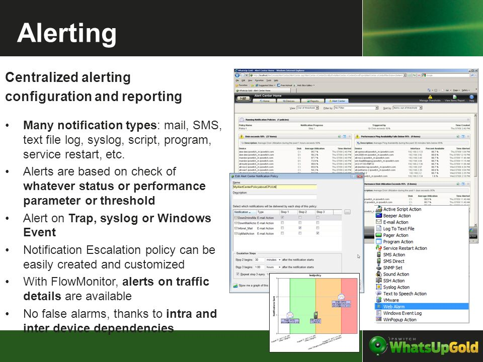 Alerting Centralized alerting configuration and reporting