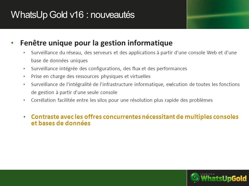 WhatsUp Gold v16 : nouveautés
