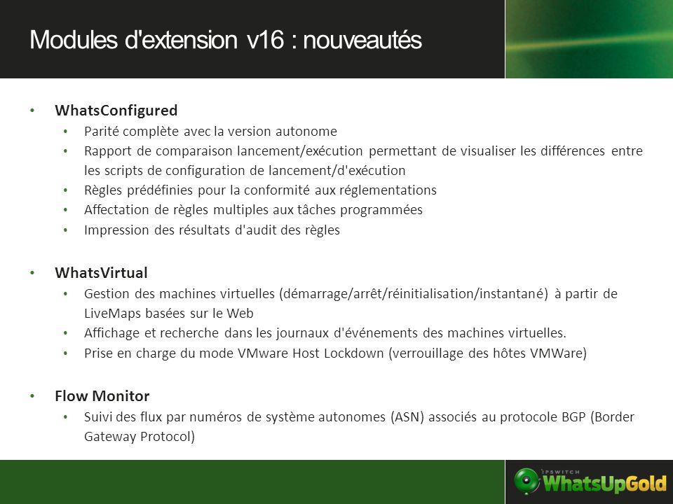 Modules d extension v16 : nouveautés