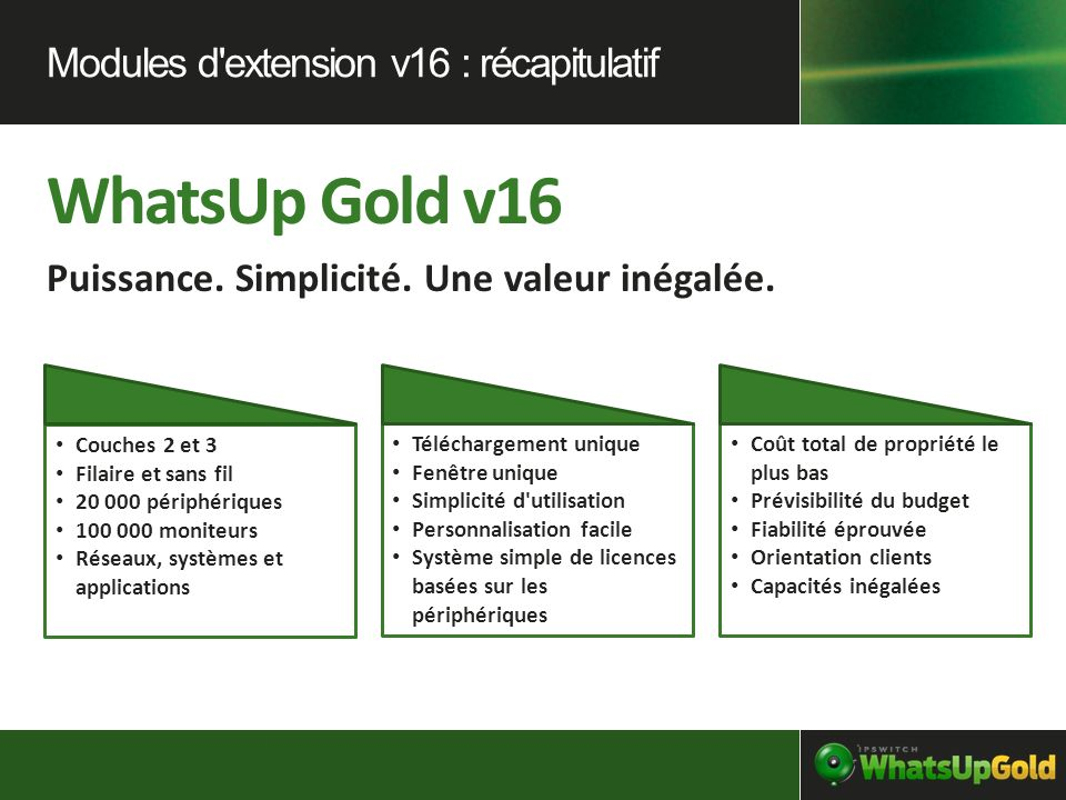 WhatsUp Gold v16 Modules d extension v16 : récapitulatif