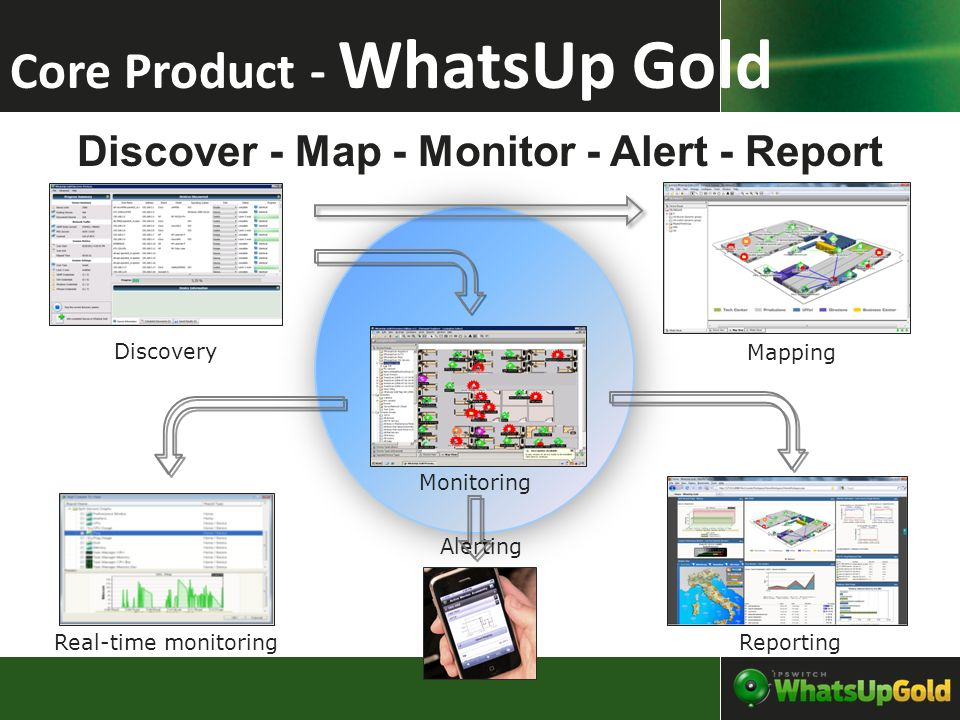 Discover - Map - Monitor - Alert - Report