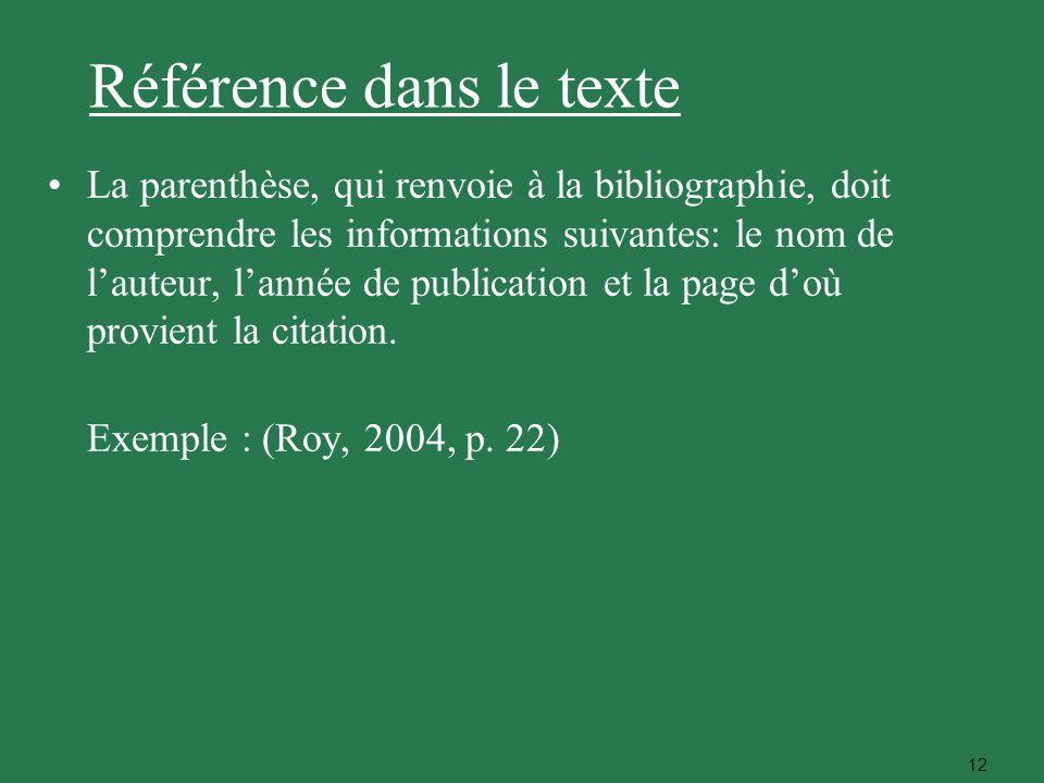 Référence dans le texte