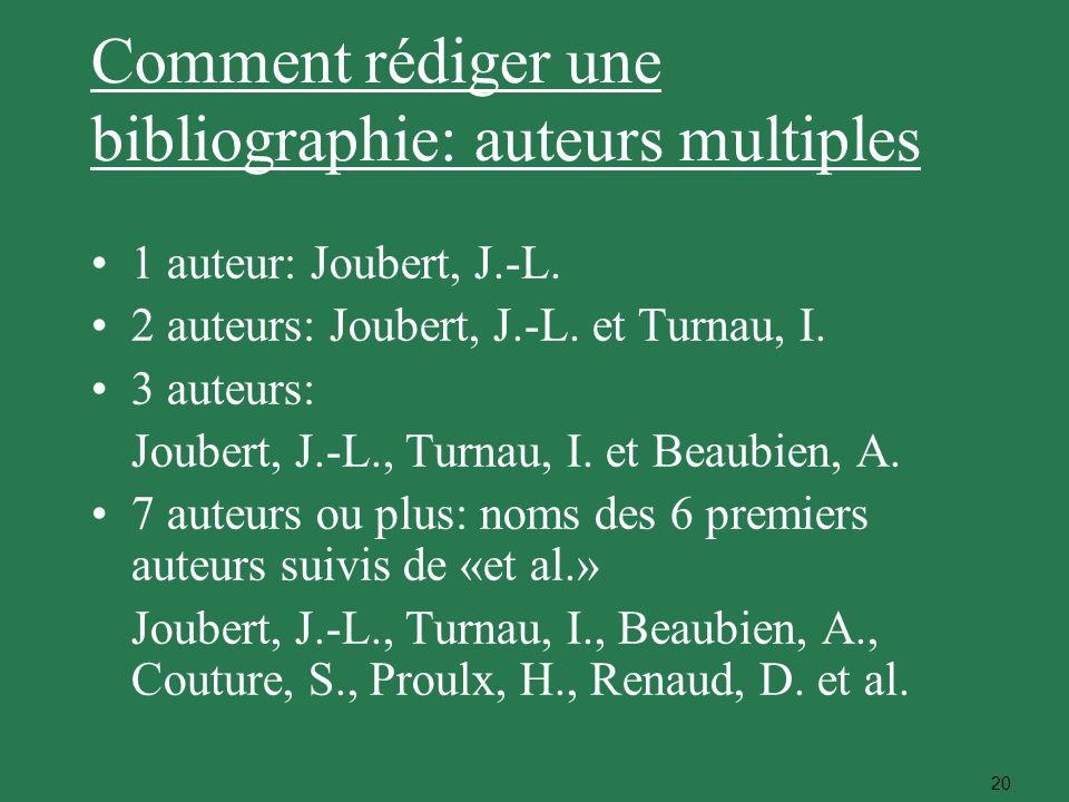 Comment rédiger une bibliographie: auteurs multiples