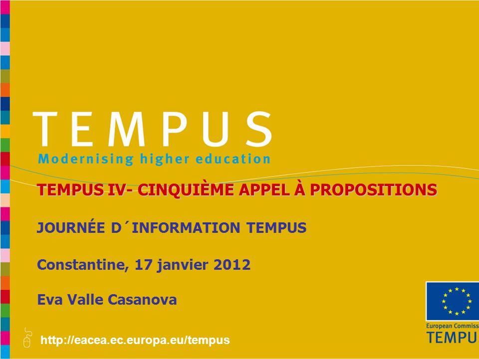 TEMPUS IV- CINQUIÈME APPEL À PROPOSITIONS