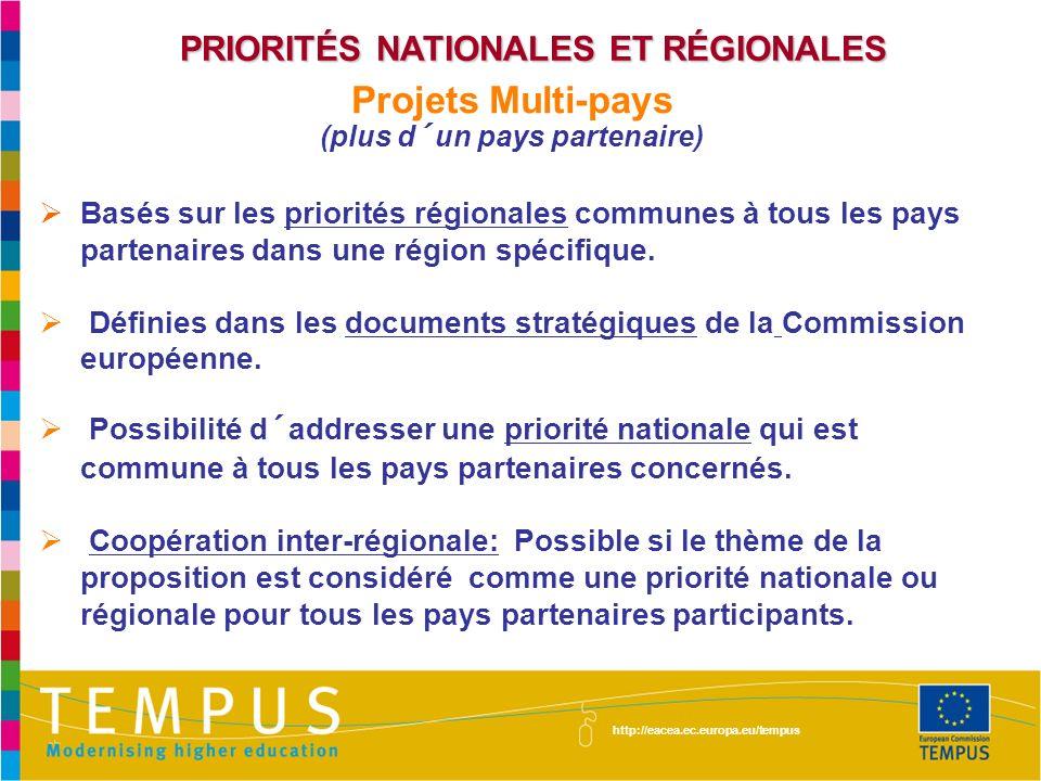 PRIORITÉS NATIONALES ET RÉGIONALES (plus d´un pays partenaire)
