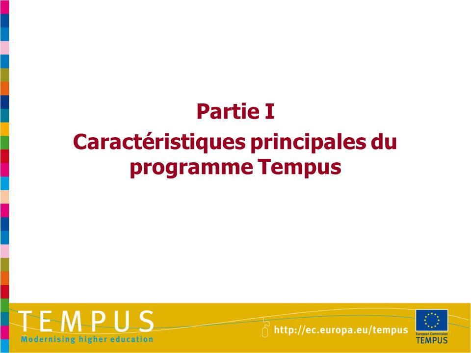 Caractéristiques principales du programme Tempus