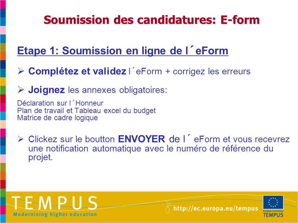 Soumission des candidatures: E-form