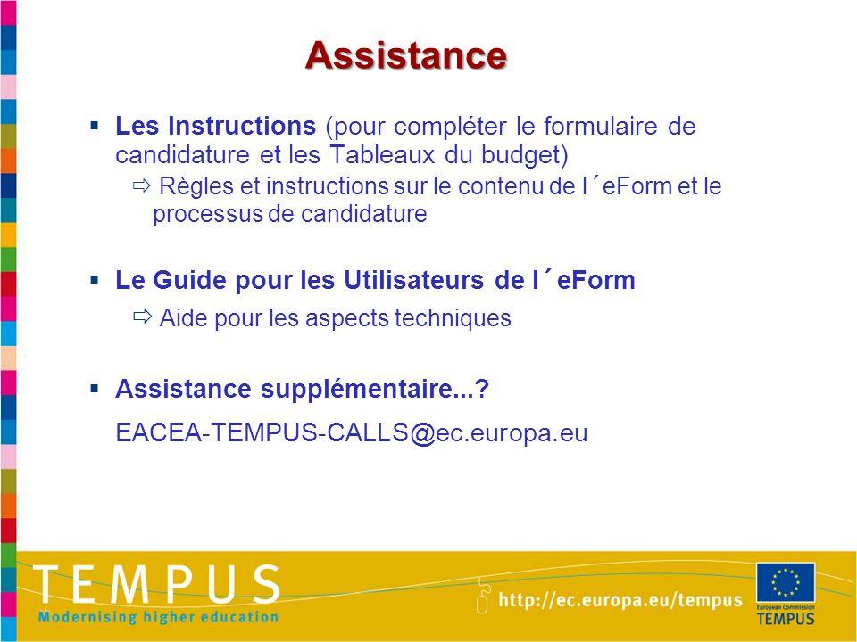 Assistance Les Instructions (pour compléter le formulaire de candidature et les Tableaux du budget)