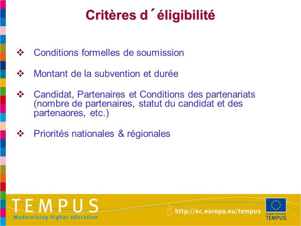 Critères d´éligibilité