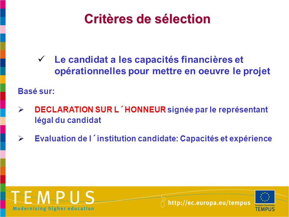 Critères de sélection Le candidat a les capacités financières et opérationnelles pour mettre en oeuvre le projet.