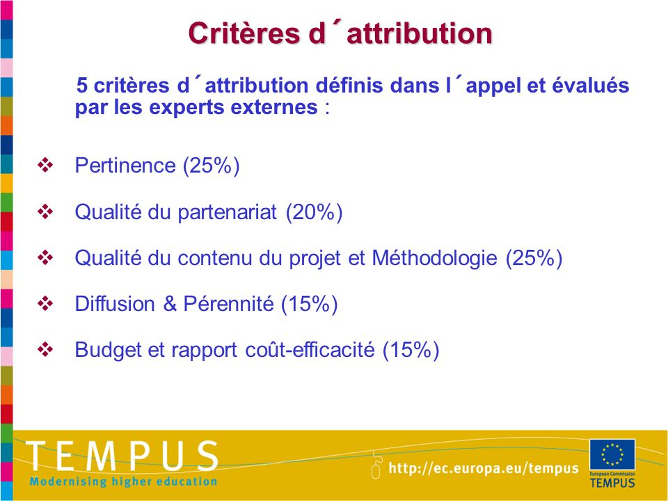 Critères d´attribution