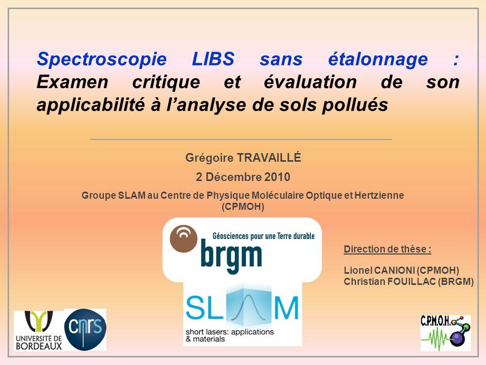Spectroscopie LIBS sans étalonnage : Examen critique et évaluation de son applicabilité à l'analyse de sols pollués