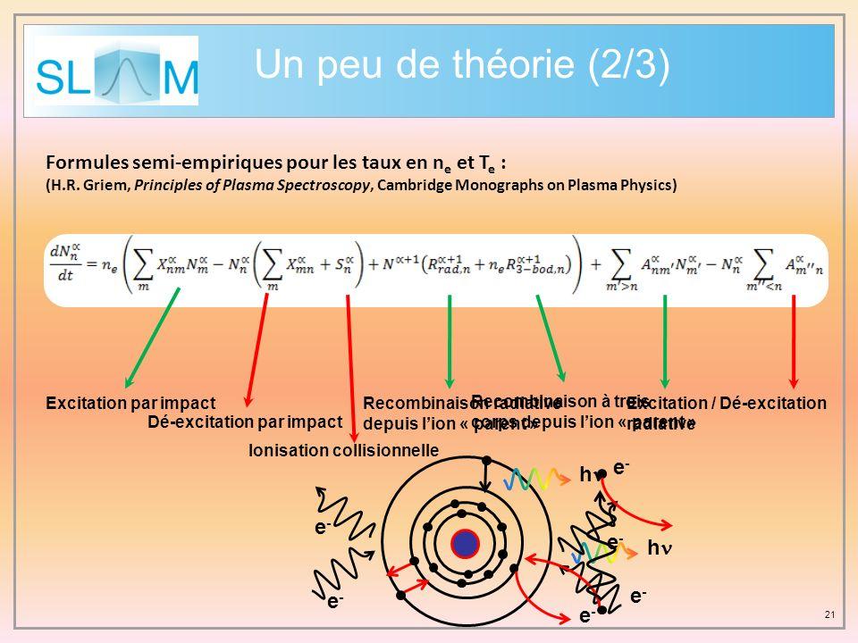 Un peu de théorie (2/3) Formules semi-empiriques pour les taux en ne et Te :