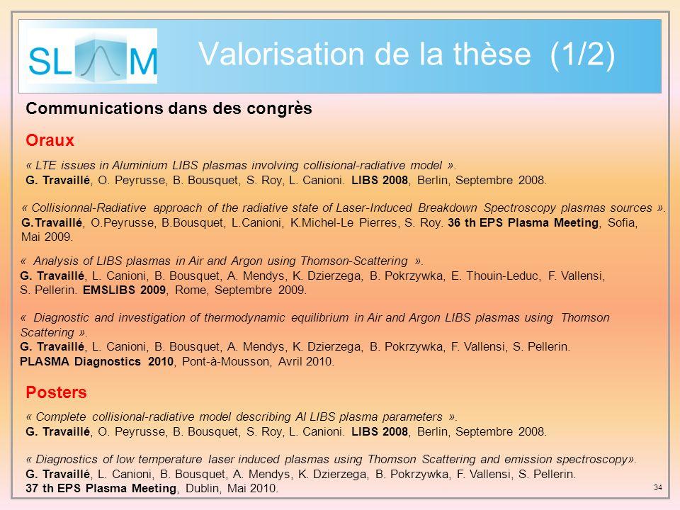 Valorisation de la thèse (1/2)