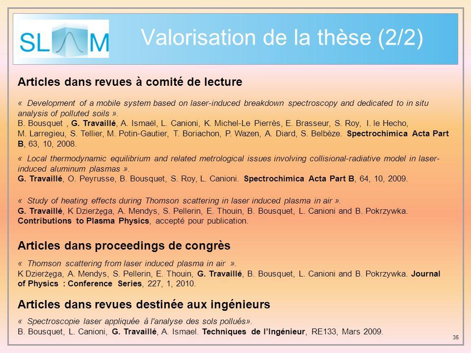 Valorisation de la thèse (2/2)