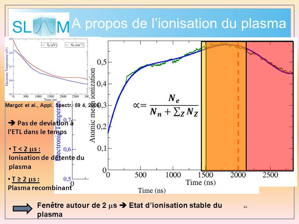 A propos de l'ionisation du plasma