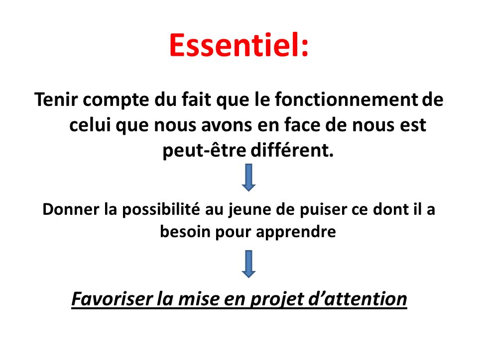 Favoriser la mise en projet d'attention