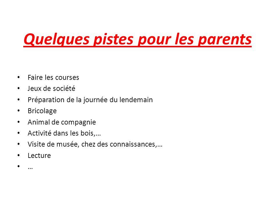 Quelques pistes pour les parents