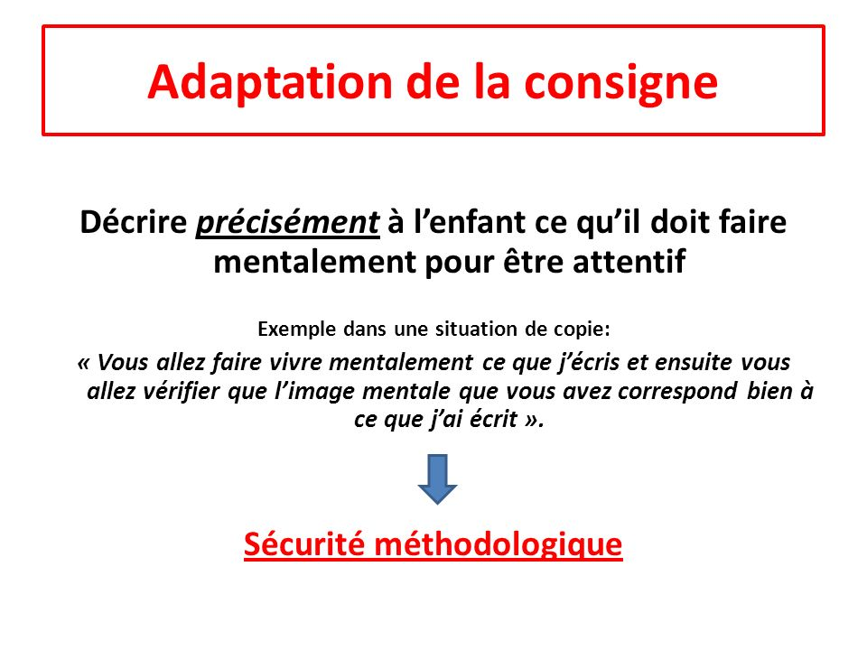 Adaptation de la consigne