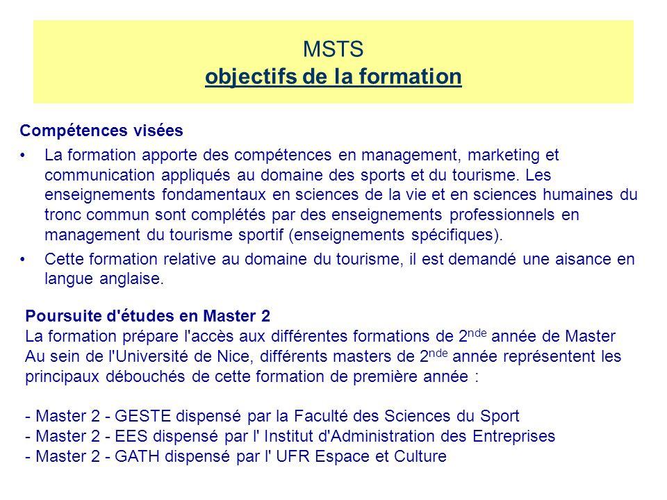 MSTS objectifs de la formation