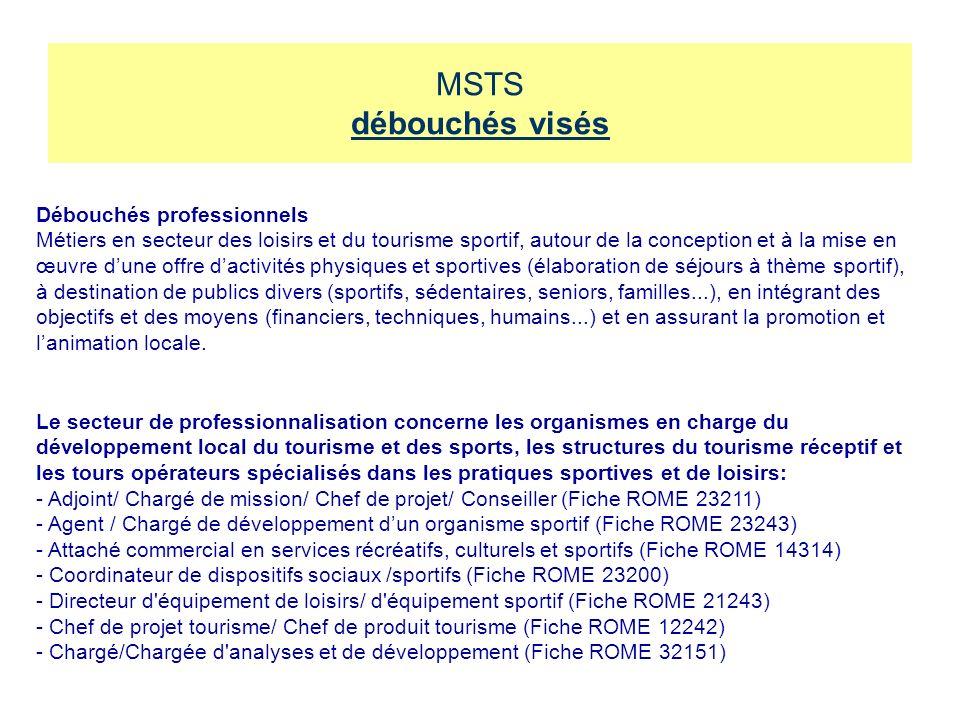MSTS débouchés visés Débouchés professionnels