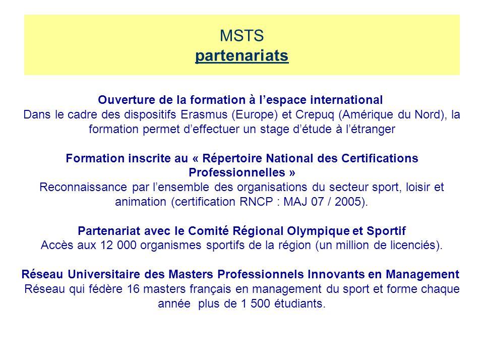 MSTS partenariats Ouverture de la formation à l'espace international