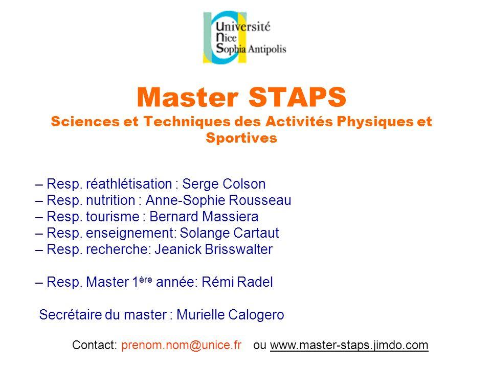 Contact: prenom.nom@unice.fr ou www.master-staps.jimdo.com