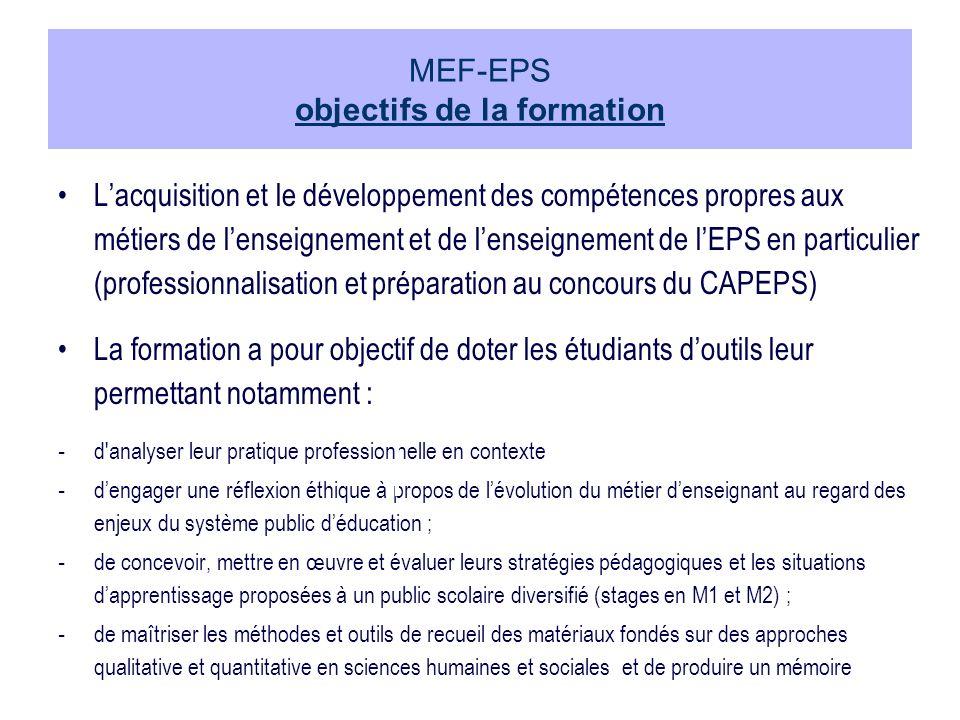 MEF-EPS objectifs de la formation