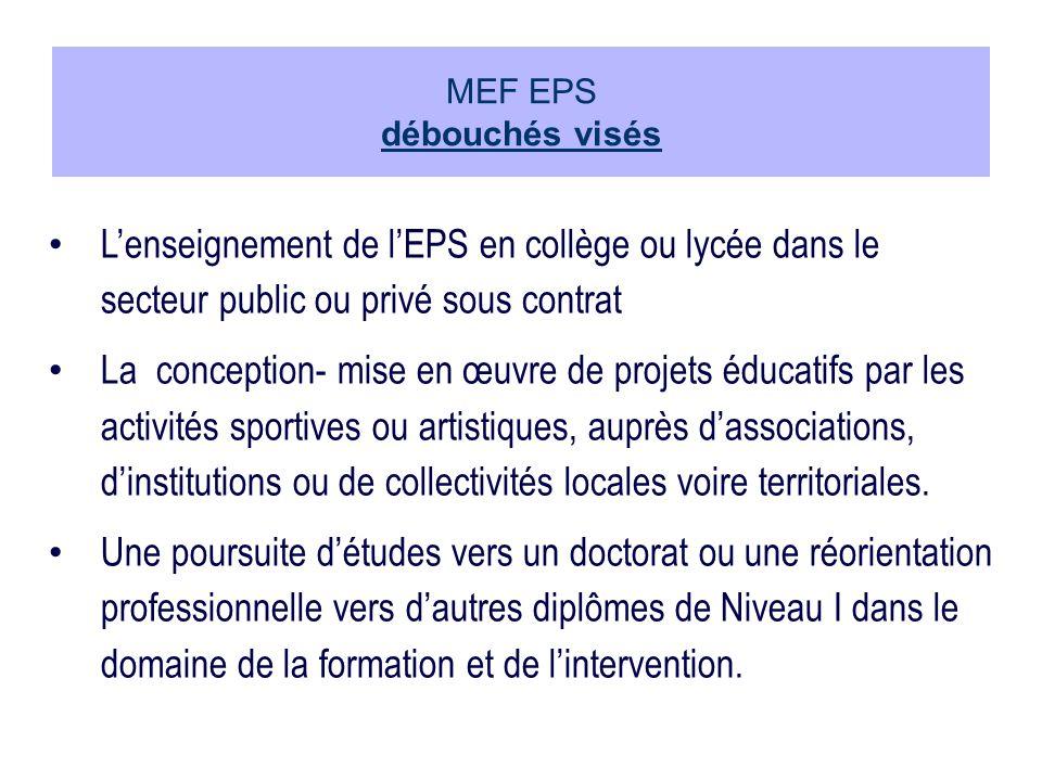 MEF EPS débouchés visés
